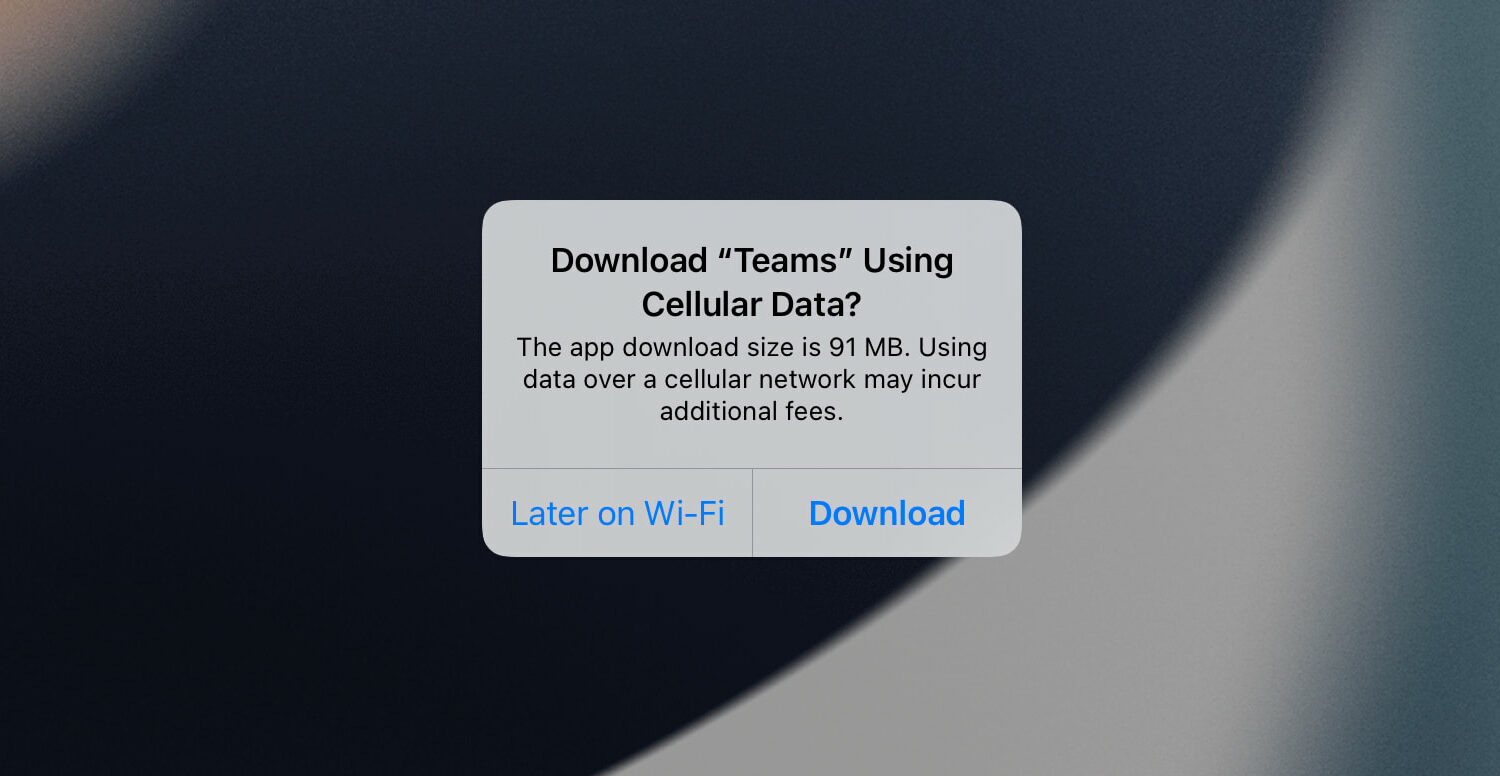 iPhone App Store popup showing app's size before downloading